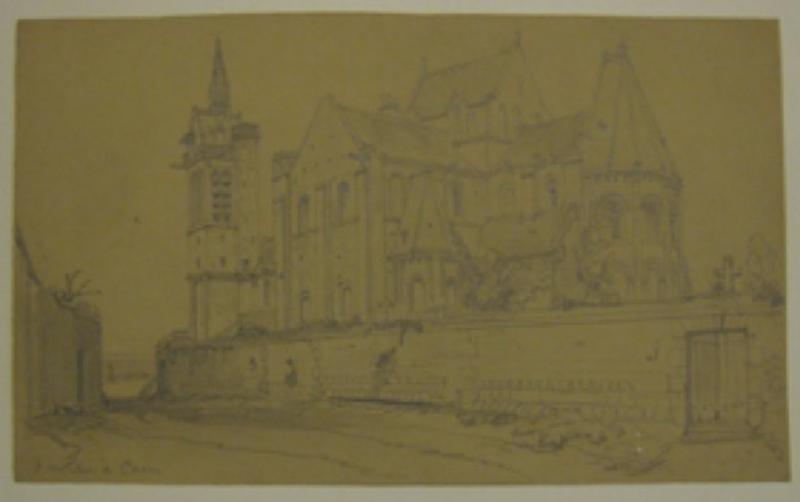 Église-SAINT-NICOLAS-Caen-Dessin-à-la-mine-de-plomb-sur-papier-vélin-crème-Situé-au-crayon-gris-en-bas-à-gauche-124-x-205-mm-Musée-des-B-A-de-Caen